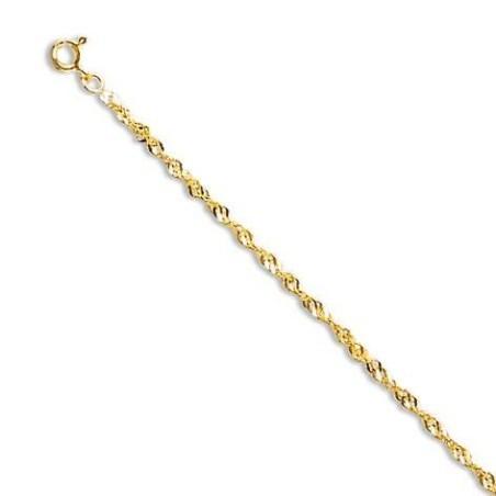 Chaîne or jaune 18 carats pour femme, Maille singapour torsadée