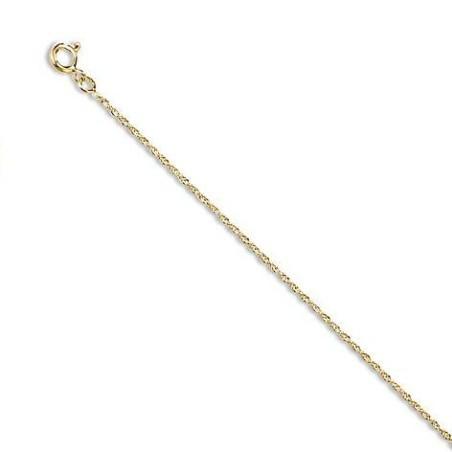 Chaîne or jaune 18 carats pour femme, Maille Corde 1 mm