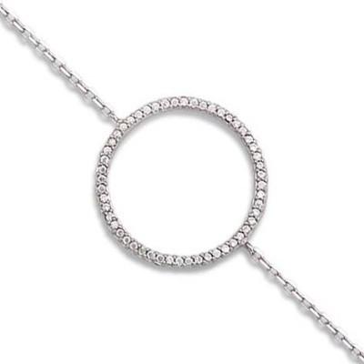 Bracelet cercle en zircon en argent - Rive Gauche