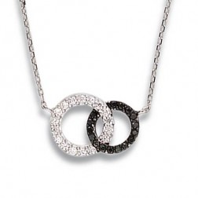 Collier noir et blanc en argent et zircon - Union
