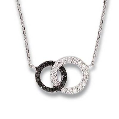 Collier femme en argent & zircon noir & blanc - Union