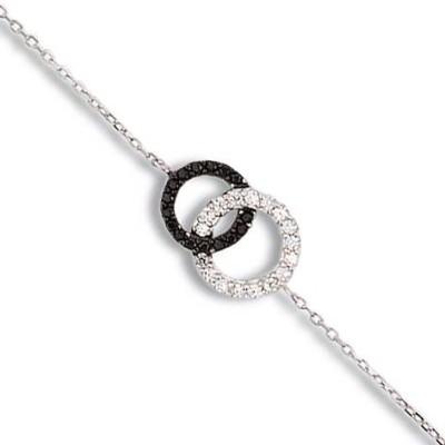 Bracelet en argent et zircon noir et blanc pour femme - Union