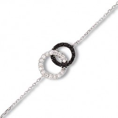 Bracelet en argent et zircon noir et blanc - Union