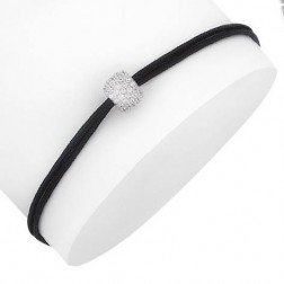 Bracelet cordon noir, perle zircon et argent - Fashionista