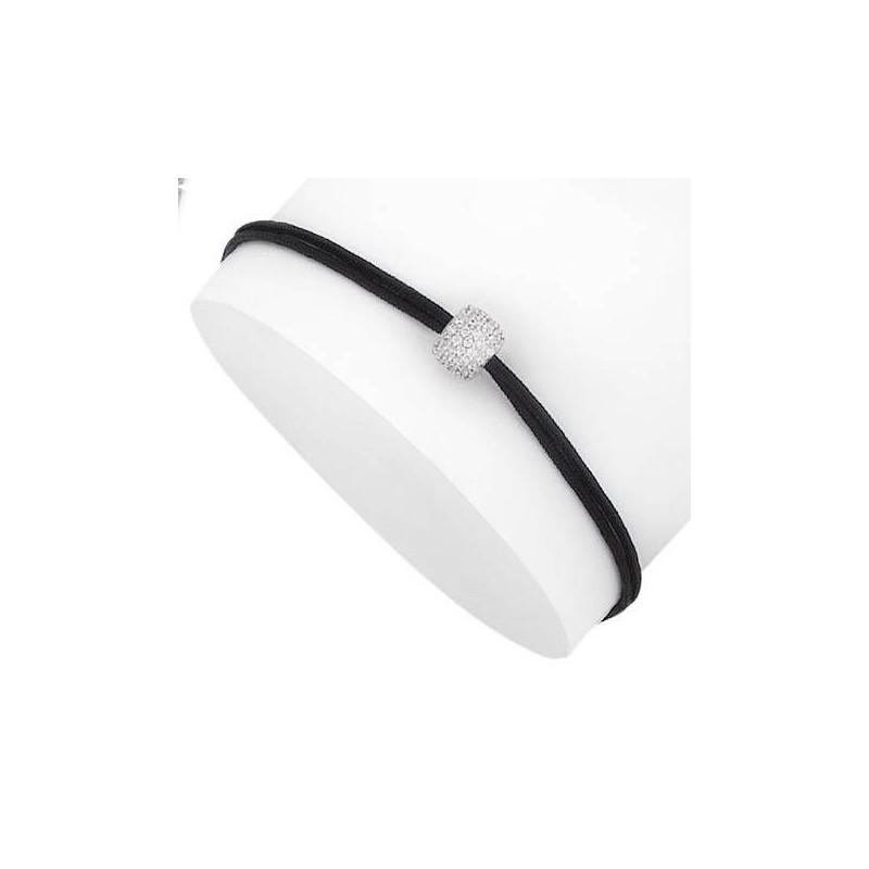 Bracelet cordon noir, perle zircon et argent pour femme - Fashionista - Lyn&Or Bijoux