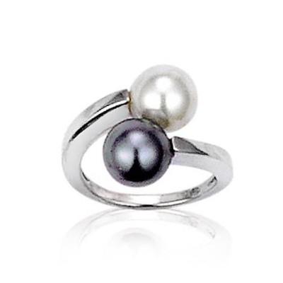 Bague femme en argent & perles grise et blanche - Femina - Lyn&Or Bijoux