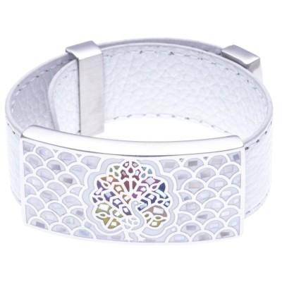 Bracelet Gamy's cuir blanc 2 cm, acier et émail Coloré, Paon