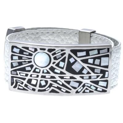 Bracelet Odena cuir blanc 2 cm, acier, émail pour femme - Vikkie - Lyn&Or Bijoux