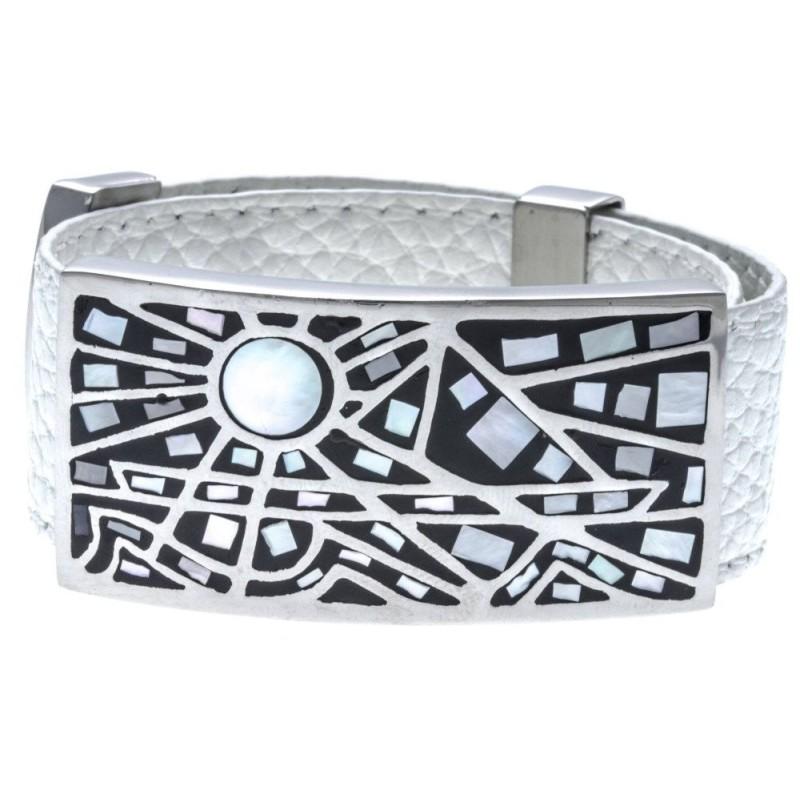 Bracelet Gamy's cuir blanc 2 cm, acier et émail Coloré, Vikkie