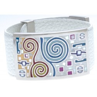 Bracelet Gamy's en cuir blanc 3 cm, acier et émail Coloré - Sapya