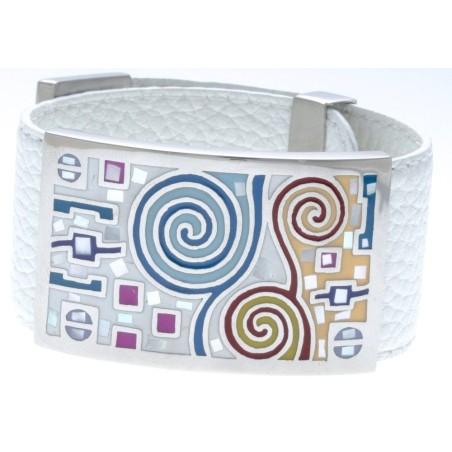 Bracelet Gamy's cuir blanc 3 cm, acier et émail Coloré, Sapya