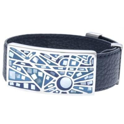 Bracelet Gamy's cuir bleu nuit 2 cm, acier et émail Coloré, Ciao