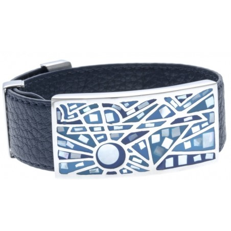 Bracelet Gamy's cuir bleu nuit 2 cm - acier et émail Coloré - Ciao