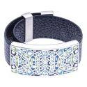Bracelet Gamy's cuir noir 2 cm, acier et émail Coloré, Roza