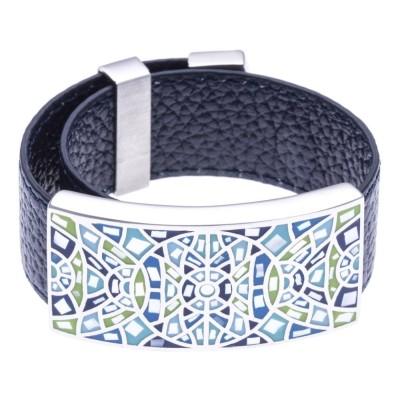 Bracelet Gamy's cuir noir 2 cm - acier et émail Coloré - Roza