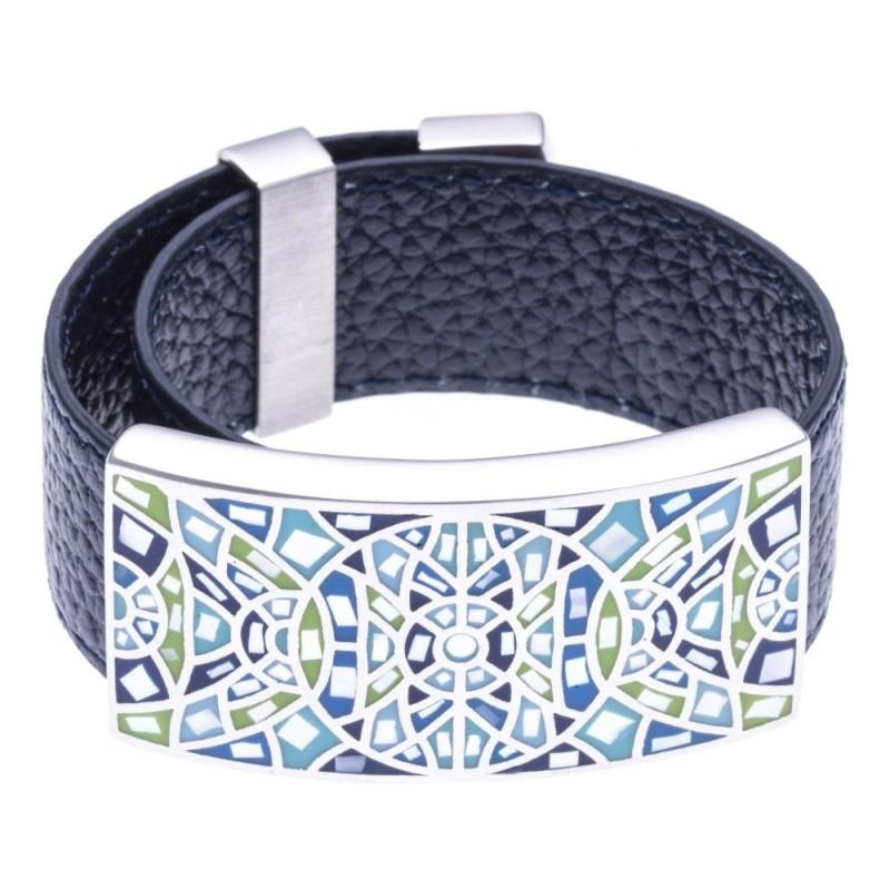 Bracelet femme, Cuir bleu marine 2cm, Rosace bleue - Odena - Lyn&Or Bijoux