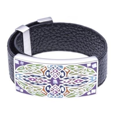 Bracelet femme, cuir noir 2cm, Rose des Vents - Odena - Lyn&Or Bijoux