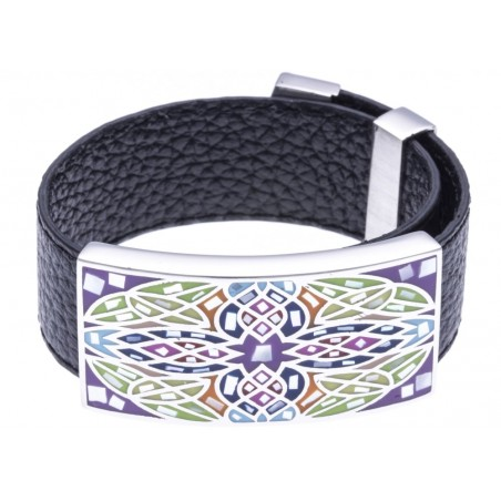 Bracelet Gamy's cuir noir 2 cm, acier et émail Coloré, India