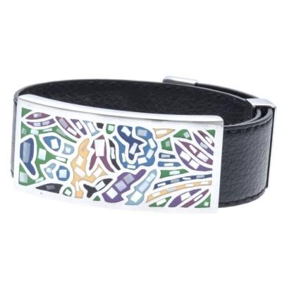 Bracelet Gamy's en cuir noir 2 cm, acier et émail Coloré - Swiny