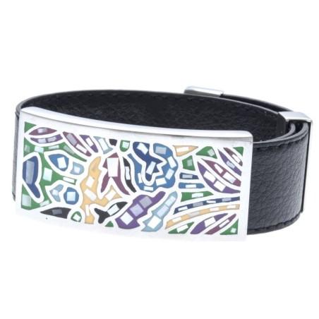 Bracelet Gamy's cuir noir 2 cm, décor acier et émail Coloré