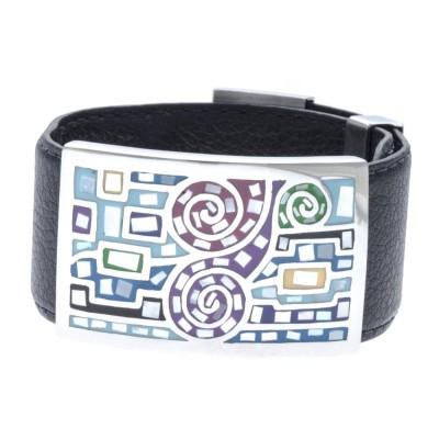 Bracelet Gamy's cuir noir 3 cm, acier et émail Coloré, Shiny