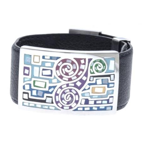 Bracelet Gamy's cuir noir 3 cm, acier, émail - Shiny
