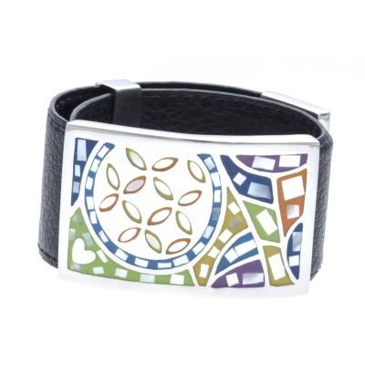 Bracelet Gamy's cuir noir 3 cm - acier et émail Coloré - Flavi