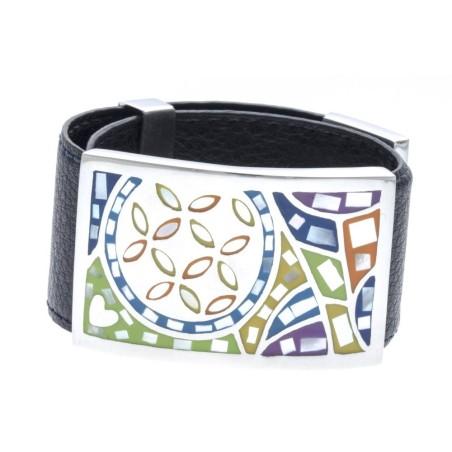 Bracelet Gamy's cuir noir 3 cm, acier et émail Coloré, Flavi
