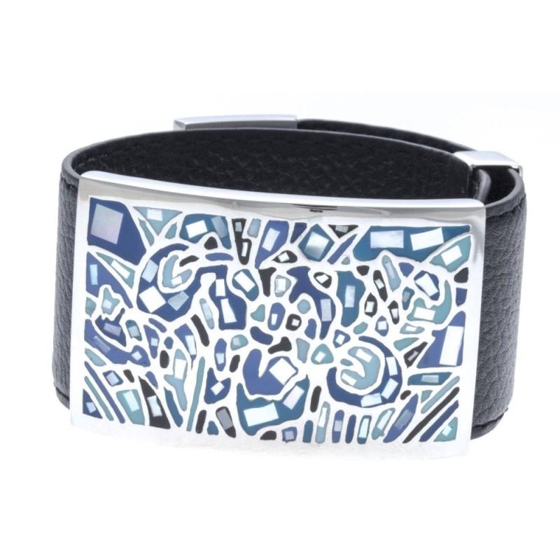 bracelet avec cuir amovible blanc et bleu et acier pour femme