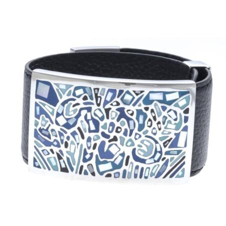 Bracelet Gamy's cuir noir 3 cm, acier et émail Coloré, Moon