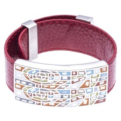 Bracelet Gamy's en cuir rouge 2 cm, acier et émail Coloré - Raja