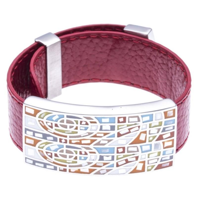 Bracelet Gamy's cuir rouge 2 cm - acier et émail Coloré - Raja