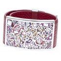 Bracelet Gamy's cuir rouge 3 cm, acier et émail Coloré, Kami