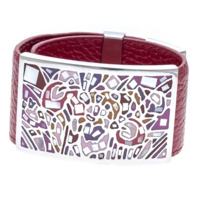Bracelet Gamy's en cuir rouge 3 cm, acier et émail Coloré - Kami