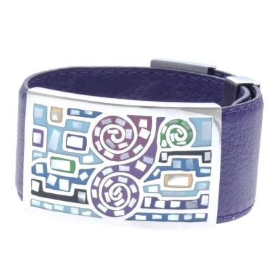 Bracelet Gamy's en cuir violet 3 cm, acier et émail Coloré - Rafi