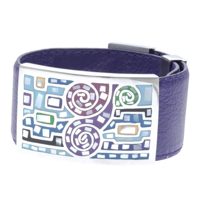 Bracelet Gamy's cuir violet 3 cm, acier et émail Coloré, Rafi