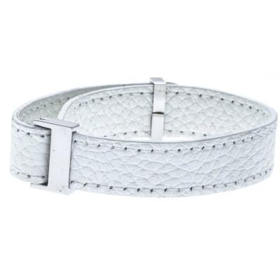 Bracelet manchette en cuir Gamy's interchangeable cuir blanc 1 cm