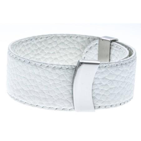 Bracelet manchette en cuir Gamy's interchangeable cuir blanc 2 cm