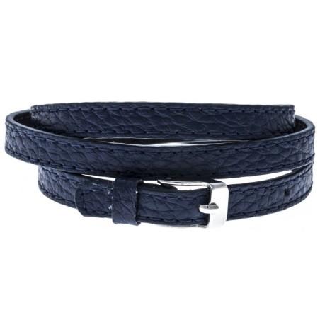 Bracelet manchette en cuir Gamy's interchangeable cuir bleu nuit 3 lanières