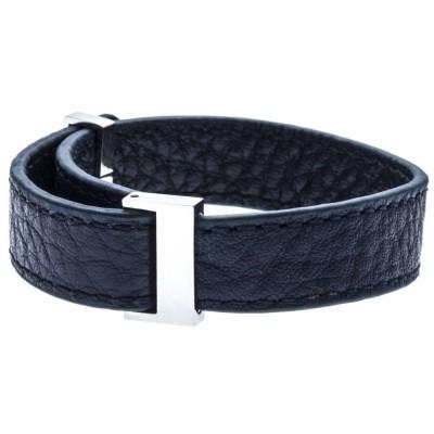Bracelet manchette en cuir Gamy's interchangeable cuir bleu nuit 1 cm