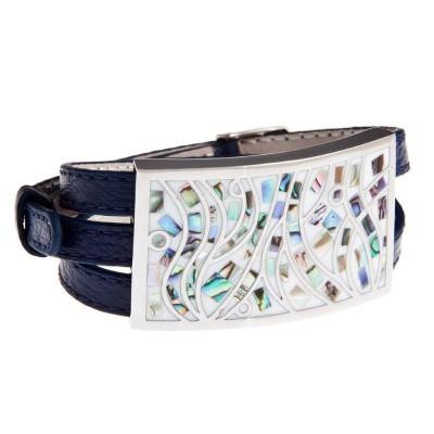 Bracelet Gamy's en cuir bleu nuit, nacre et émail - Cambio