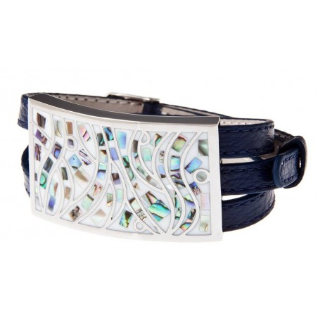 Bracelet Gamy's cuir bleu nuit, nacre et émail, Cambio