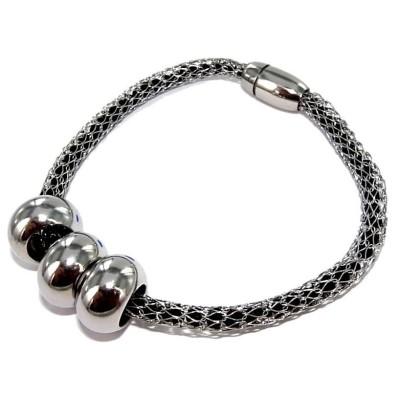 Bracelet aimanté acier inoxydable et cristal noir, Kaya