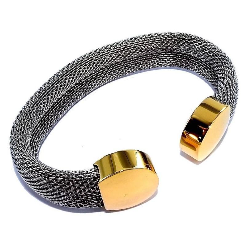 Bracelet ouvert acier gris et doré pour femme, Riva