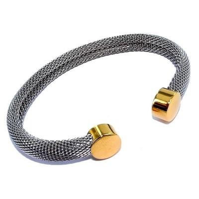Bracelet ouvert en acier gris et doré pour femme - Rivia