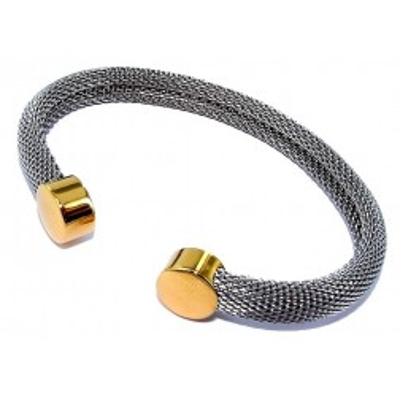 Bracelet jonc ouvert en acier gris et doré pour femme - Rivia - Lyn&Or Bijoux