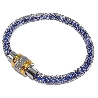 Bracelet aimanté acier inoxydable bicolore et cristal bleu, Kaya