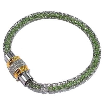 Bracelet aimanté en acier bicolore et strass vert - Kaya