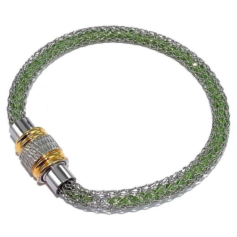 Bracelet aimanté acier inoxydable bicolore et cristal vert, Kaya
