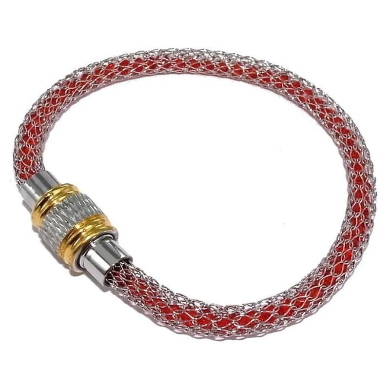 bracelet femme acier rouge